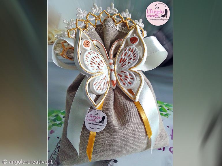 Bomboniere Farfalle Matrimonio.Bomboniera Sacchetto Farfalla In Terracotta Angolo Creativo