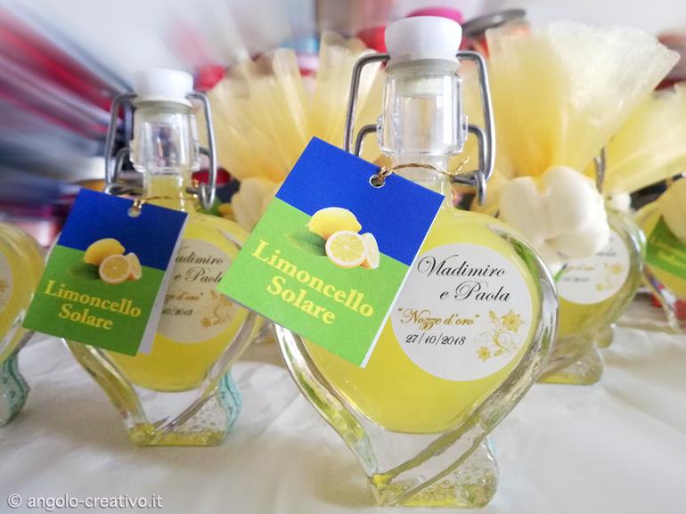 Segnaposto Matrimonio Bottiglia.Bomboniera Liquore Limoncello Angolo Creativo Bomboniere